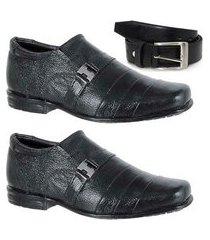 kit 2 pares de sapato social infantil e 1 cinto couro leoppé
