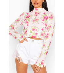 floral woven ruffle open back crop top, white
