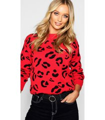 leopard knitted sweater, red