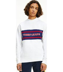 tommy hilfiger men's organic cotton mockneck sweatshirt white / multi - xxl