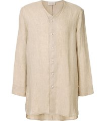 sartorial monk side slits tunic shirt - neutrals