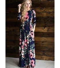 vestido largo estampado floral para mujer correa con cuello en v vestidos de playa divididos media manga suelta vestidos-azul marino