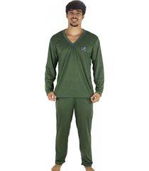 pijama mvb modas adulto  blusa manga comprida e calã§a verde - verde - masculino - poliã©ster - dafiti