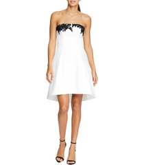 women's halston heritage strapless fit & flare cocktail dress, size 10 - ivory