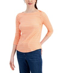 charter club printed 3/4-sleeve supima cotton top, created for macy's