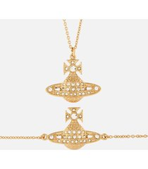 vivienne westwood women's minnie bas relief bracelet and pendant giftset - gold crystal