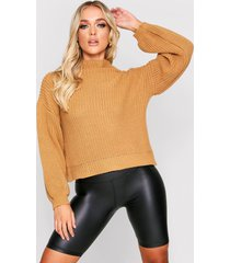 balloon sleeve knitted sweater, camel