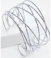 chanelle twisted sparkle cuff bracelet in silver - silver