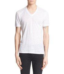 men's john varvatos linen slim fit v-neck t-shirt, size xx-large - white