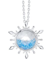 "disney frozen 2 blue crystal snowflake pendant necklace in silver-plate, 16"" + 2"" extender in fine silver plate"