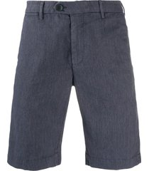 corneliani mottled twill chino shorts - blue