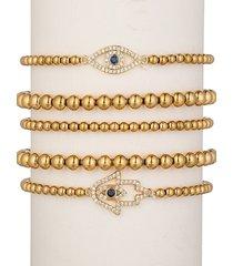 eye candy la women's luxe 5-piece 18k goldplated titanium hamsa & evil eye beaded bracelet set
