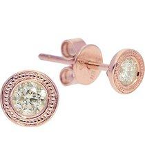 diamond trend milgrain 14k rose gold & diamond stud earrings