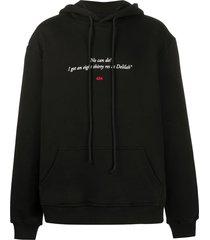 424 long sleeve quote print hoodie - black