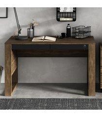 mesa escrivaninha 2 gavetas com chave me4144 nogal/preto - tecno mobili