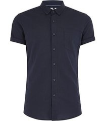 mens navy stretch skinny oxford shirt