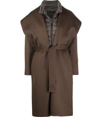 moorer padded jacket with wrap coat overlay - brown