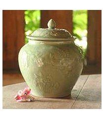 celadon ceramic jar, 'lotus pond' (thailand)