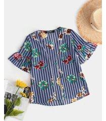 yoins blusa con mangas acampanadas y cuello en v con estampado floral azul