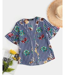 yoins blusa de mangas acampanadas con cuello en v y estampado floral azul de rayas