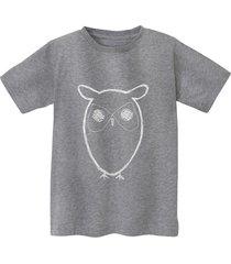 shirt met korte mouw uil van bio-katoen, grijs-gemêleerd 86/92