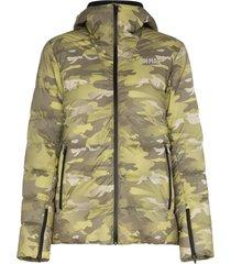 colmar jaqueta matelassê com estampa camuflada - verde
