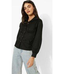 blouse met korset taille en volle mouwen, black
