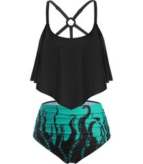 plus size galaxy octopus print ruffled o ring strappy tankini swimwear