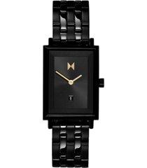 mvmt women's caviar black stainless steel bracelet watch 24mm