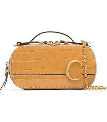chloé c ring crocodile-effect leather crossbody bag - brown