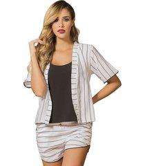 pijama pantalón corto blanco adriana arango 7813