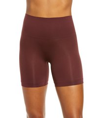 women's yummie ultralight seamless shaping shorts, size medium/large - brown