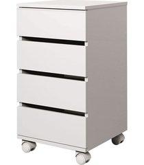 gaveteiro em mdp com 4 gavetas e rodízios londres 66,5x35cm branco