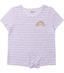 big girls short sleeve tie front striped t-shirt