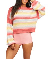 billabong seeing stripes boat neck cotton sweater, size small in vintage red at nordstrom
