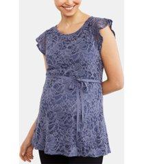 motherhood maternity flutter-sleeve babydoll blouse