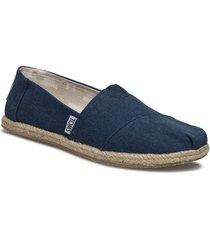 navy washed canvas sandaletter expadrilles låga blå toms