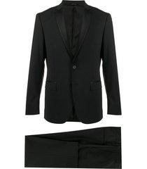 tonello satin trim suit set - black