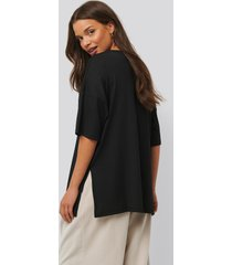 na-kd basic ribbed oversized tee - black