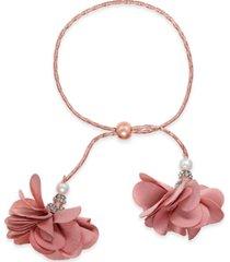inc imitation pearl & fabric flower bolo bracelet, created for macy's