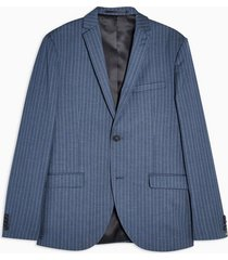 mens blue pinstripe super skinny fit single breasted suit blazer with notch lapels