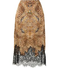 camilla lady lodge silk midi skirt - brown