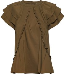 othilia solid blouses short-sleeved grön custommade