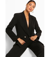 tailored relaxed pearl button blazer, black