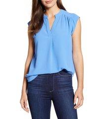 women's gibson crinkle split neck top, size medium - blue