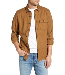 men's jeremiah keefe regular fit brushed twill button-up sport shirt, size xx-large - brown