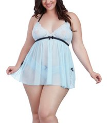 dreamgirl plus size stretch lace babydoll 2pc lingerie set, online only