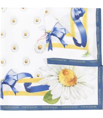 monnalisa floral and bow print scarf - white