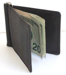 men's solid genuine leather spring money clip front pocket plain bifold wallet