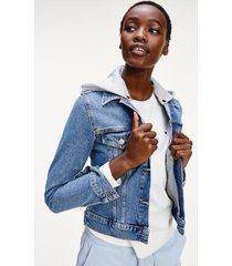 tommy hilfiger women's detachable hood trucker jacket spring blue - 8